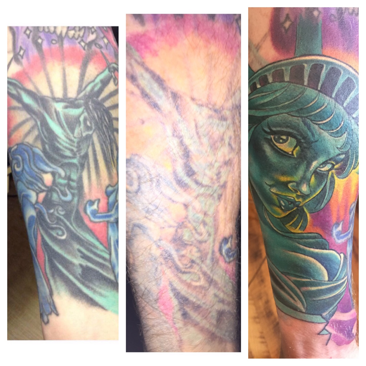 Lightened left for coverup on the right